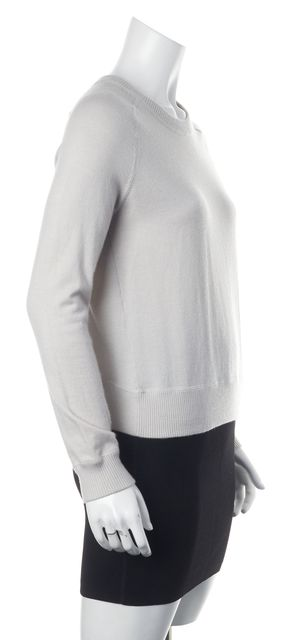 THEORY Light Gray Cashmere Zip Back Crewneck Sweatshirt Sweater