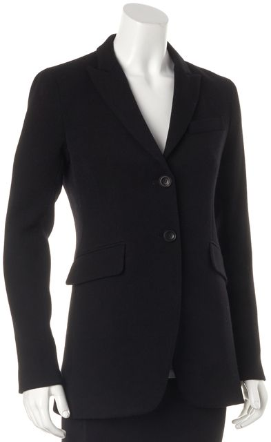 THEORY Black Wool Andor Valleus Casual Two Button Long Blazer
