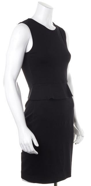 THEORY Black Dellera Sleeveless Knee-Length Peplum Dress