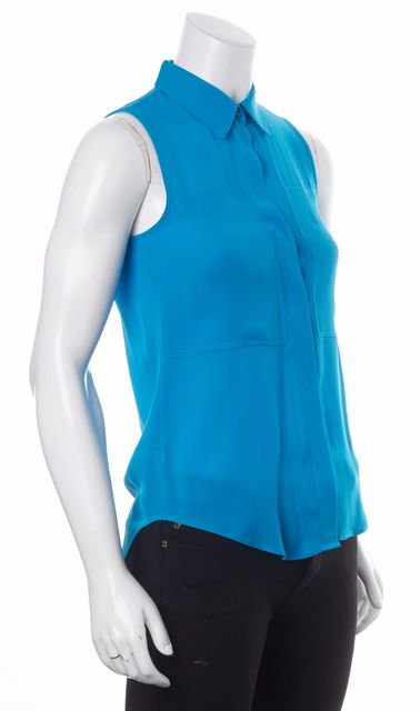 THEORY Blue Silk Blouse Top