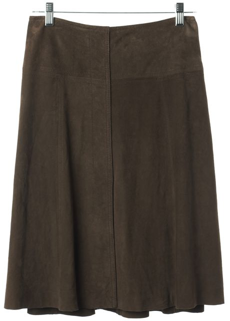 THEORY Brown Suede Above The Knee Pleated Straight Skirt