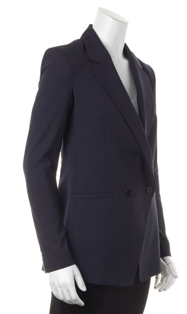 THEORY Navy Blue Wool Double Breasted Blazer Jacket