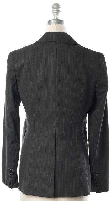 THEORY Charcoal Gray Pinstriped Wool Two Button Blazer Jacket
