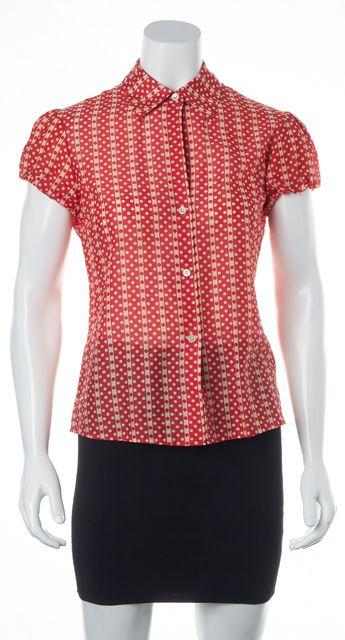 THEORY Red White Cotton Polka Dot Pouf Short Sleeve Button Down Shirt
