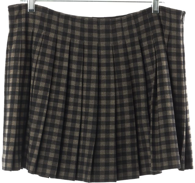 THEORY Gray Black Plaid Wool Mini A-Line Pleated Skirt