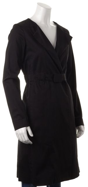 THEORY Black Stretch Cotton Belted Long Dress Coat