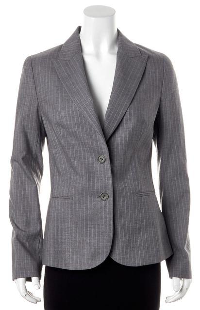 THEORY Gray Pinstriped Wool Two Button Nichelle Blazer Jacket