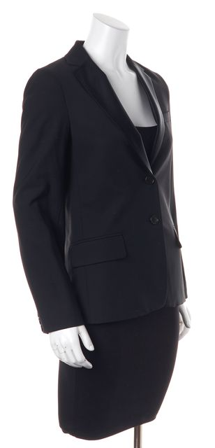THEORY Black Classic Wool Satin Combo Two Button Career Jacket Blazer