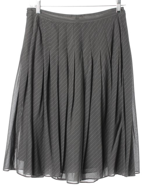 THEORY Gray White Pinstriped Angelina Knee Length Pleated Skirt