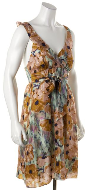 THEORY Pink Multi- Colored Silk Floral Ruffle Sundress
