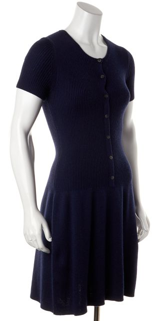 THEORY Blue Cotton Cashmere Ribbed Short Sleeve Sweater Dress
