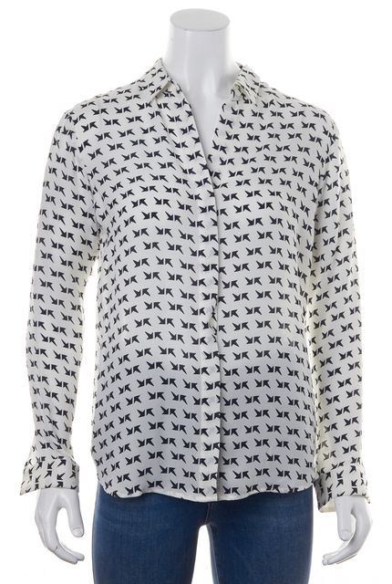 THEORY White Black Abstract Printed Silk Button Down Long Sleeve Blouse Top