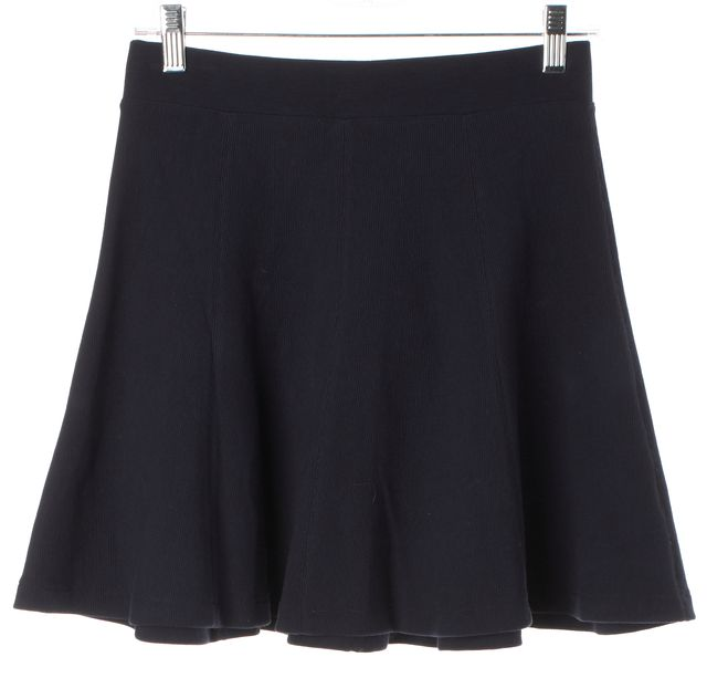 THEORY Navy Blue Betsi Stretch Cotton Knit Jersey A-Line Flounce Skirt