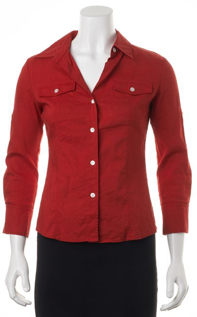 THEORY Red Linen Button Down Shirt