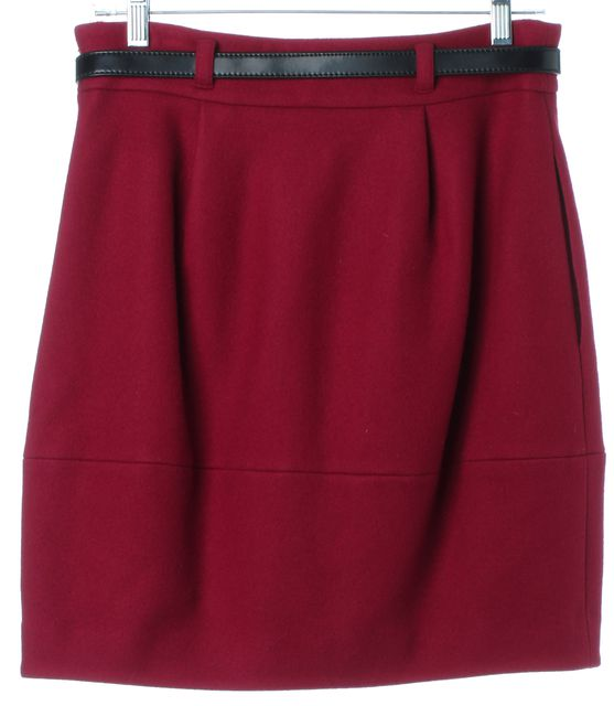 THEORY Dark Pink Wool Cecily Pleated Belted Straight Skirt