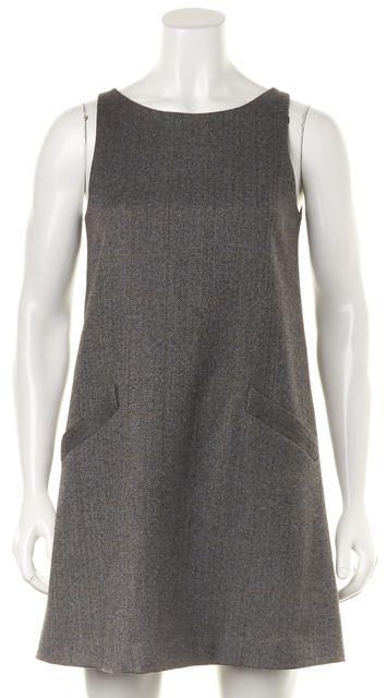 THEORY Gray Black Herringbone Wool Patch Pockets A-Line Shift Dress