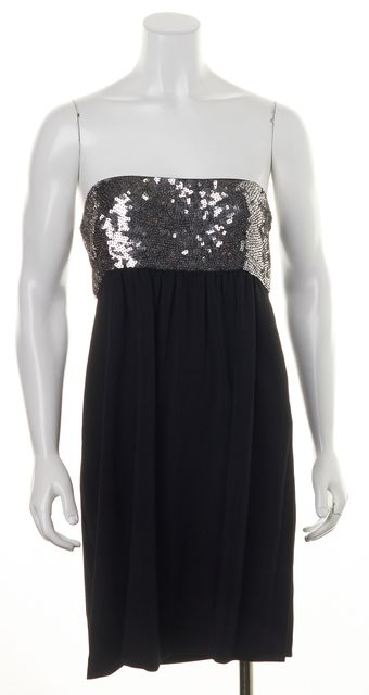 THEORY Black Silver Sequined Beaded Wool Strapless Fit & Flare Mini Dress
