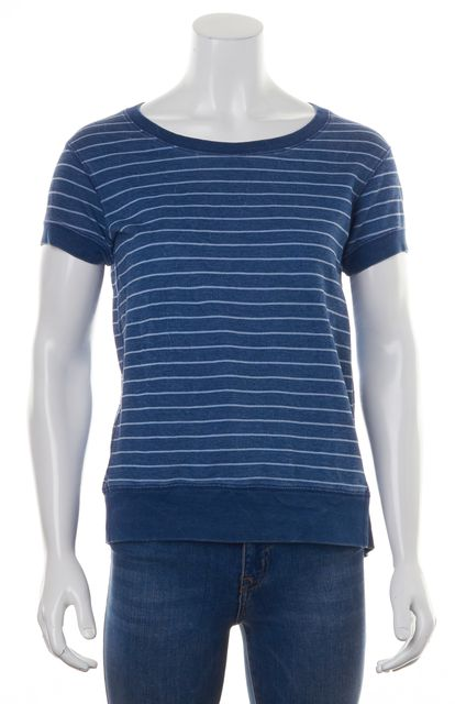THEORY Blue White Striped Short Sleeve Boat Neck Knit Top