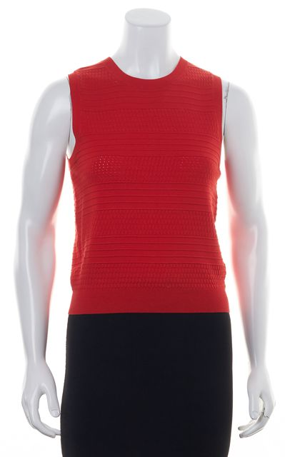 THEORY Red Sleeveless Crewneck Embroidered Knit Top