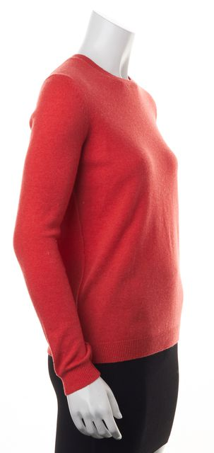 THEORY Orange Cashmere Thin Knit Casual Crewneck Sweater Top