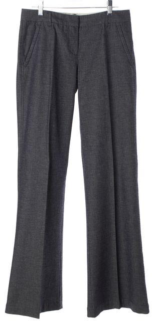 THEORY Dark Blue Stretch Cotton Chambray Flared Leg Trousers Pants