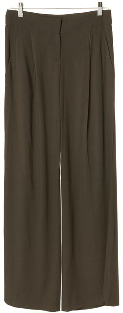THEORY Brown Relaxed Fit Wide Leg Career Dress Pants