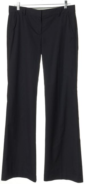 THEORY Navy Blue Stretch Cotton Pinstripe Flared Leg Trousers Pants