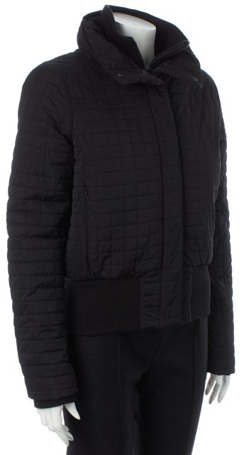 THEORY Black Horace Quilted Knit Trim Cairns Q Puffer Coat Jacket