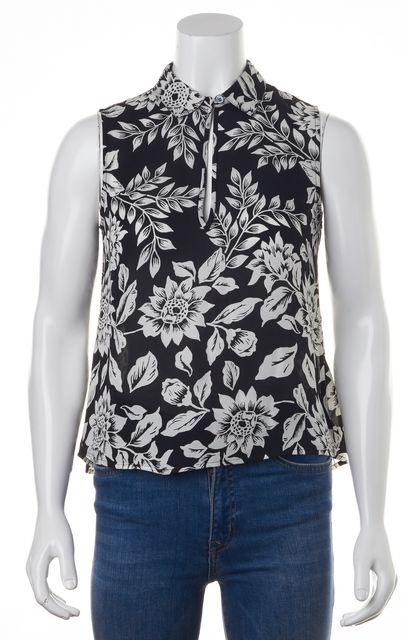THEORY Black White Floral Silk Blouse Top