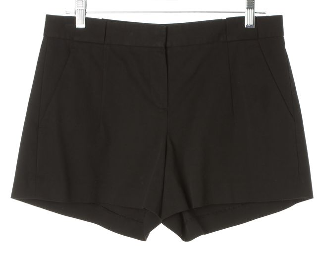 THEORY Black Stretch Cotton Roushy L Pleated Casual Shorts