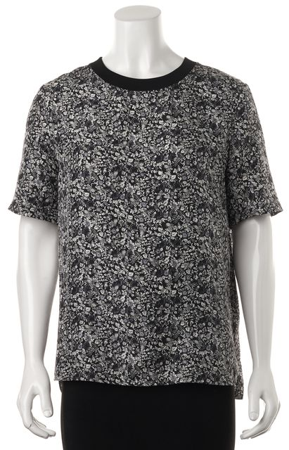 THEORY Blue Gray Floral Silk Klima Button Back Short Sleeve Blouse Top