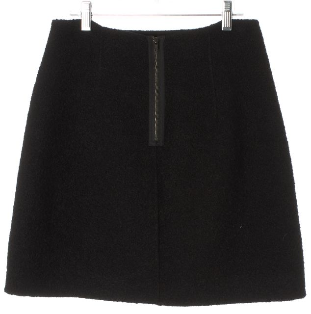 THEORY Black Wool Leather Trim Francia Double Boucle A-Line Skirt