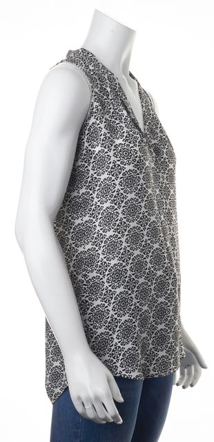 THEORY Black White Abstract Silk Blouse