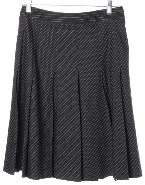 THEORY Black White Pinstriped Above Knee Pleated A-Line Skirt