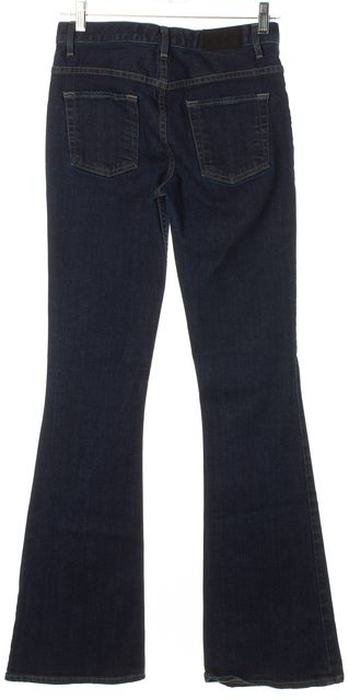 THEORY Blue Stretch Cotton Denim Patch Pockets High Rise Flared Leg Jeans