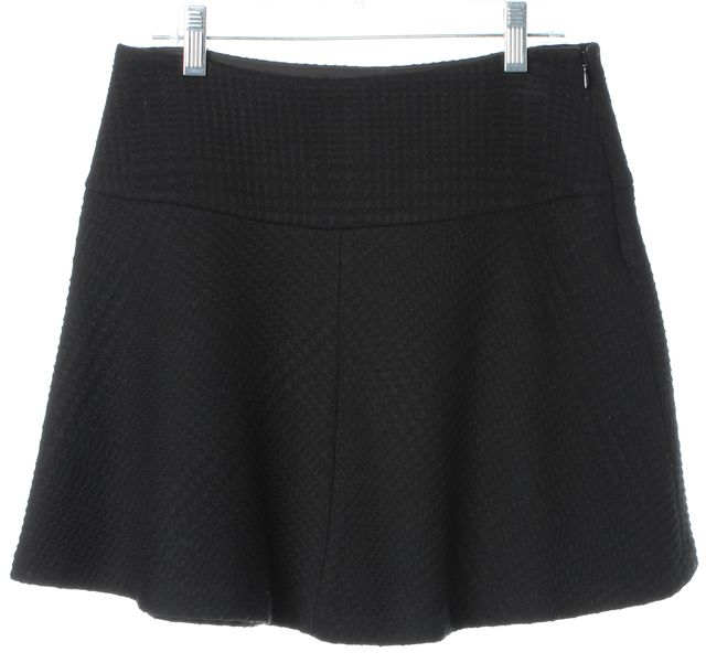 THEORY Black Jacquard Sione B Patient Pleated A-Line Skirt