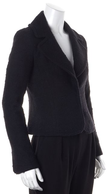 THEORY Black Boucle Wool Blend Double Snap Front Basic Jacket