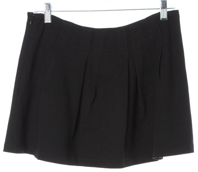 THEORY Black Pleated Above Knee A-Line Skirt
