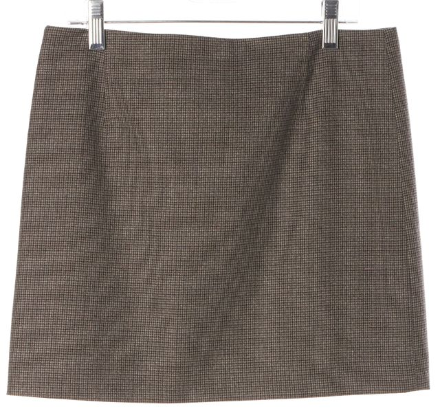 THEORY Gray Purple Houndstooth Wool Sachan Bloomsberry Straight Skirt