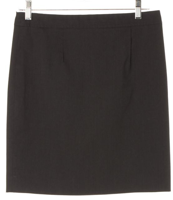THEORY Black Wool Blend Above Knee Straight Skirt