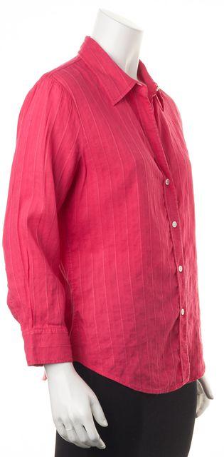 THEORY Raspberry Textured Linen Button Down Shirt