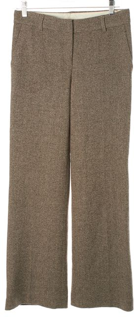 THEORY Brown Woven Wool Suiting Flared Wide Leg Dress Trousers Pants