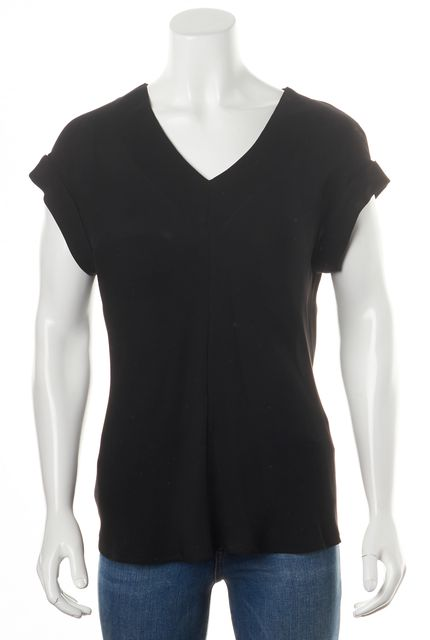THEORY Black Silk Gyda Cap Sleeve V-Neck Blouse Top