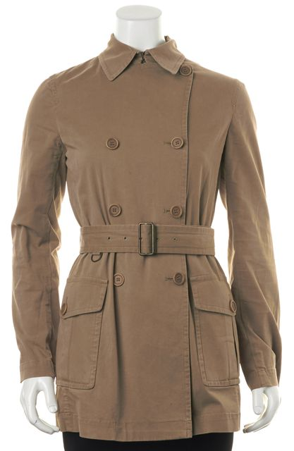 THEORY Beige Belted Double Breasted Button Front Basic Jacket