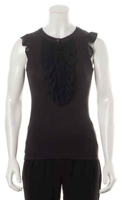 THEORY Black Cotton Jersey Chiffon Ruffle Trim Sleeveless Vinny Blouse Top