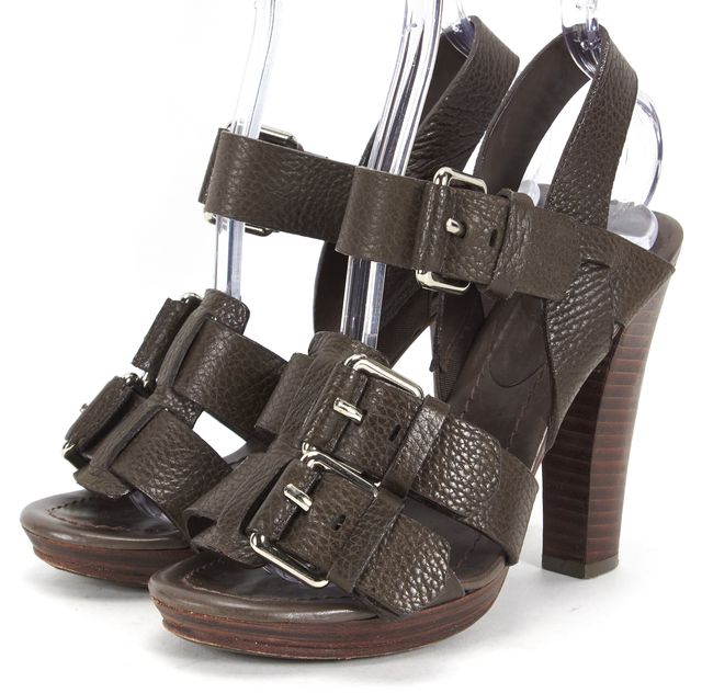 THEORY Brown Pebbled Leather Wooden Platform Sandals