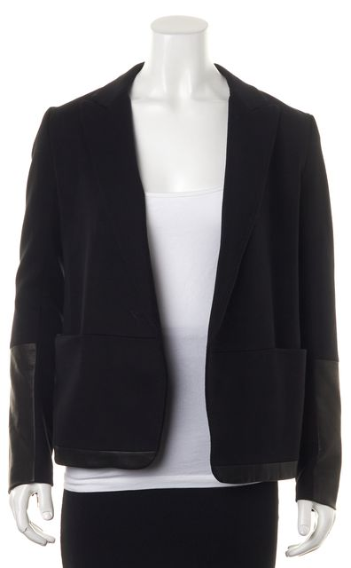 THEORY Black Leather Trim Antonito B Classical Pocket Front Open Blazer