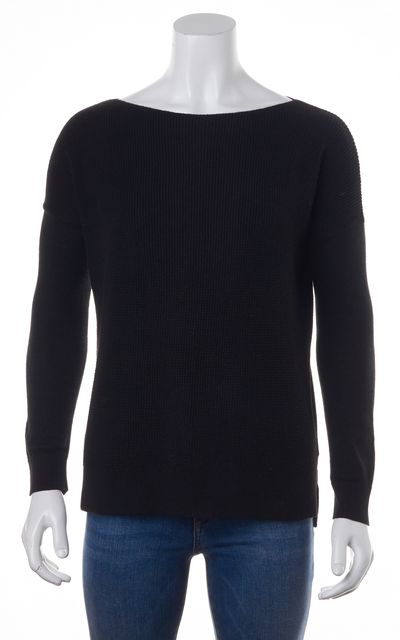 THEORY Black Boat Neck Sweater