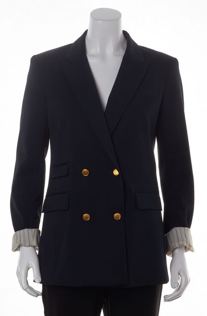 THEORY Navy Blue Double Breasted Gold Tone Buttons Blazer