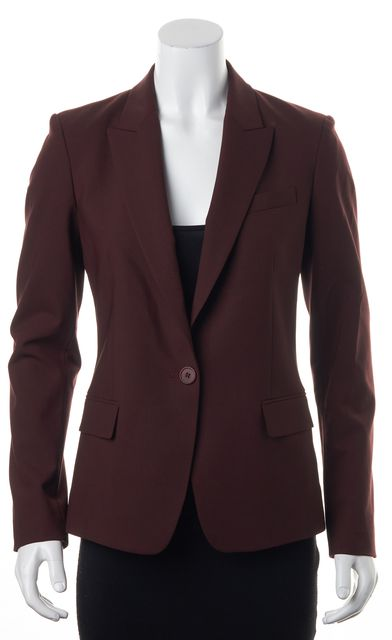 THEORY Burgundy Red Wool One Button Flap Pockets Blazer